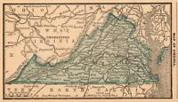 1888 Antique VIRGINIA Map Original RARE MINIATURE State Map of Virginia 7928