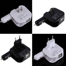 2 In1 Combo Car and Home Travel Wall Charger Adapter W Two 2.1A USB Ports EU/US