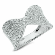 Ring 14K White Gold 0.99Ct Diamond Crossover Cocktail Right Hand Twist