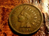1901  Indian head penny antique cent  full liberty rare coin no junk  #501A