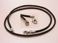 "1 x STAINLESS STEEL Black LEATHER Choker NECKLACE 2mm or 3mm ~Up to 76cm (30"")~"