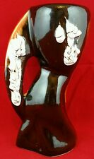 Kitsch 70's abstract 17cm vase in white, brown and orange