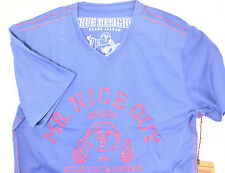 $225 TRUE RELIGION Mens BLUE RED V-NECK MR. NICE GUY T-SHIRT TEE SIZE LARGE L