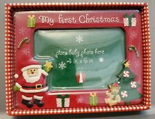 Baby Essentials My First Christmas Picture Frame Holds 4x6 Nib Santa Gifts