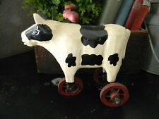 Primitive Vintage looking  Pig on wheels Pull toy Reproduction Country Farmhouse