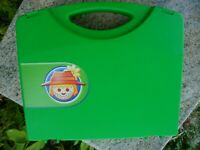 Vintage Playmobil Storage Toy Travel Carrying Case Green Hard Plastic Snap