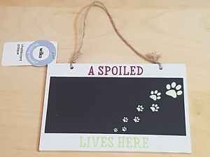 """""""A Spoiled .... Lives Here"""" Wooden Plaque with Chalkboard ~ BNWT ~ Perfect Gift!"""