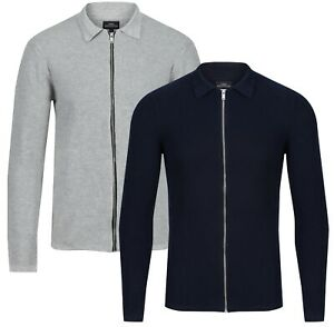 NEXT™ Mens Zip Cardigan New Textured Knit Cotton Long Sleeve Collared Cardie Top