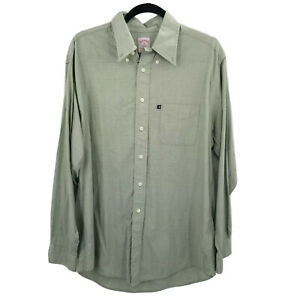 brooks brothers green gingham check button up dress shirt mens M long sleeve