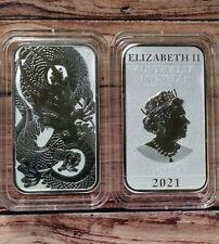 2021 Perth Mint 1oz Silver Dragon Bullion Bar in capsule X2