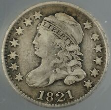 1821 Capped Bust Silver Dime 10c ANACS VF-25 Details Scratched Cleaned GBr