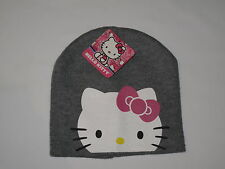 NWT HELLO KITTY knit hat Girl ONE SIZE FITS MOST (3-16?) gray