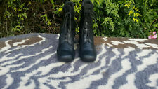Vintage Black Leather Lace up Ankle Boots UK size 4.5 EU 37.5