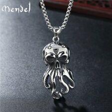 MENDEL Gothic Stainless Steel Mens Biker Monster Octopus Skull Pendant Necklace