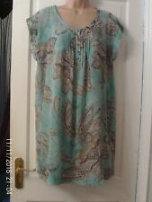 TURQUOISE AND GREY SHORT DRESS BY MARKS AND SPENCER, SIZE 14