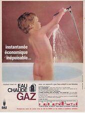 PUBLICITE ADVERTISING 015 1965 GAZ de FRANCE Eau Chaude