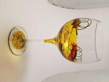 Handpainted Gold, Orange, Yellow and Black Swirled Long Stem Wine Glass