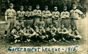 1915 RPPC Baseball Team Postcard USMC U S Marine Corps Champs Government League