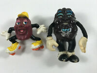 Lot (x2) Vintage California Raisins PVC bendy plastic action figure toys