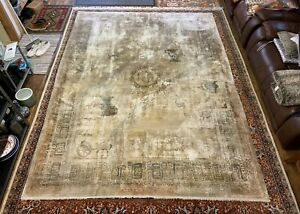 Chinese Silk Carpet, Interesting and Unusual Antique Hand Woven Oriental Carpet