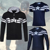 Captain America The Winter Soldier Mens Top Shirts T-shirt/Hoodie Sweater Jersey