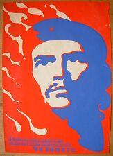 79x55 Rare Soviet Original Silkscreen POSTER Che Guevara by Lyashchuk Cuba USSR