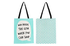 New Green Canvas Shopper Shopping Tote Bag with Speech Bubble Quirky Slogan
