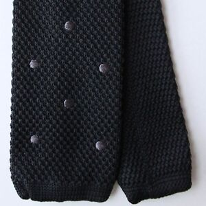 Pierre Cardin 100% Silk Woven Tie Black with Gray Polka Dots