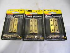 "NOS Stanley 2"" x 1"" Brass Plated Classic Cabinet Door Hinges 3 - Pair"