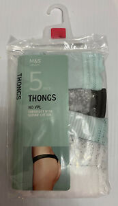 black /& white cotton low rise strings 14 16 BNIP M/&S 5 pack of nude