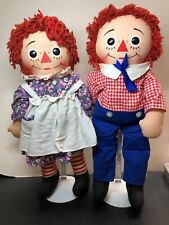 "17"" Vintage Knickerbocker Cloth Raggedy Ann & Andy Set Of 2Talks Pull String #Me"