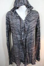 ELEMENT Womens M Gray Hooded Cardigan Sweater Open Front Drape Size Medium 8 10