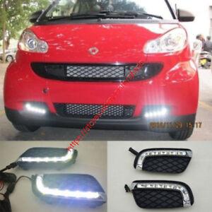 For Benz Smart Fortwo 2008-2011 Pair LED DRL Daytime Running Fog Light Lamp