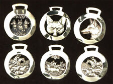More details for complete set vintage fox head / fox hunting horse brass medallions antonie paul