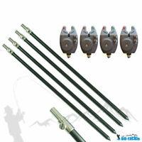 1-4 Aluminium Bankstick 75-120cm + 1- 4 Bissanzeiger Rod Pod Rutenhalter Karpfen