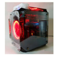 ABKO SUITMASTER EX201 Xcube Quad Tempered Glass Big Tower Computer Case RED LED