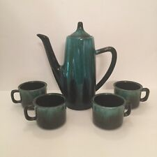 """Blue Mountain Pottery Canada Coffee Pot 9"""" With 4 Mugs Teal Drip Vintage BMP"""