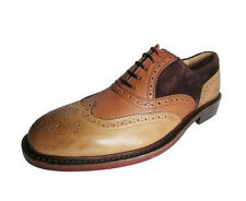 Kenneth Cole Elite Class Leather/Suede Wing-Tip Oxford Beige Combo Size10 M