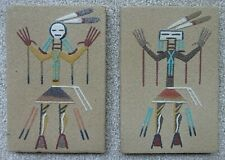 """2 Vintage 'Navajo' Sand Art Paintings """"Healing People"""" by Lucy Cartere 6"""" x 4"""""""
