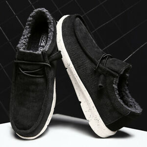 Mens Round toe Flats Fur Lined Low top Casual Shoes Winter Warm Ankle Boots Plus
