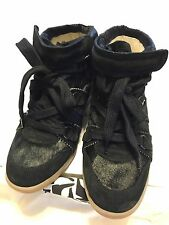 Isabel Marant Black Pony Over Basket Blossom Wedge Sneaker Shoes 39/9 $810