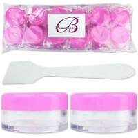 12PCS 10G/10ML Makeup Cream Cosmetic Pink Sample Jar Containers with Spatulas