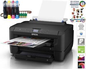 A3 Sublimation Printer Bundle Epson WorkForce WF-7210DTW + CISS + Papers Non-OEM