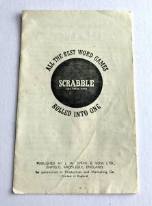 Vintage Scrabble Instruction Booklet 1958 - Board Game Manual