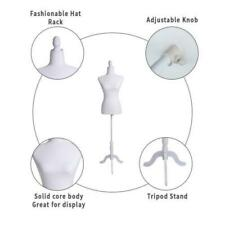 Female Mannequin Torso Clothing Display Adjusting Height Tripod Stand White