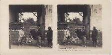 Grande Guerre Défense d'un village Ferme WW1 Photo Stereo Vintage Argentique