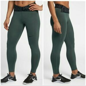 Women's Nike pro dri fit intertwist leggings Medium Green and black