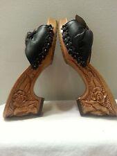 Vtg Lucky Lou (?) Sandals Shoe Slide Wood Carved Heel Floral Black Leather 5 N