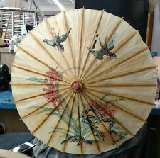 "Vintage Japan Hand Painted Rice Paper Parasol Umbrella Birds Bamboo 19"" dia."
