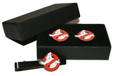Ghostbusters Cufflinks & Tie Clip Set GIFT Boxed Enamel Wedding Mens Christmas